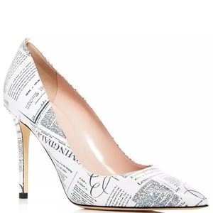 🆕️SJP Fawn Bloomingdale's Newsprint Leather Pumps